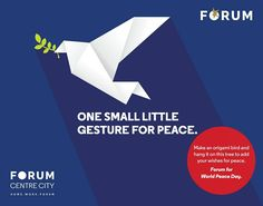 To you it's a bird made of paper. To the world it shows that you stand for peace #WorldPeaceDay #nammamysuru #MaharajaofMalls #Openingsoon