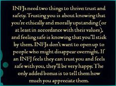 Feeling safe is knowing that you'll stick by me (loyalty, a rare quality indeed)... infj. c'est moi. mcr