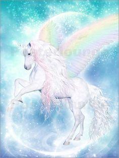 Poster Regenbogen Einhorn Pegasus