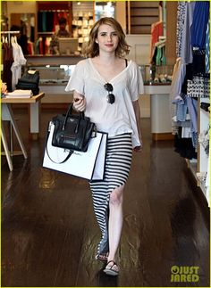 Emma Roberts Style. Side note- I love that she's not tan, it makes me feel better lol