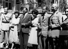the fiancee's brother the heir prince CONSTANTIN II of Greece, Queen FREDERICA of Prussia, DON JUAN CARLOS's father JUAN of BOURBON and Count of Barcelona, Princess SOFIA of Greece, the fiance JUAN CARLOS, MARIA de las Mercedes of BOURBON and princess of the two Sicilies on the engagement of Princess SOFIA of Greece and DON JUAN CARLOS in Athens.