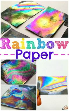 This rainbow paper experiment is a simple and dazzling STEAM art project! Create a unique rainbow paper craft that the kids will love and learn about thin-film interference! Awesome STEM activity and science experiment for kids. Unique Art Projects, Spring Art Projects, Projects For Kids, Craft Projects, Science Projects, Fair Projects, Craft Ideas, Hair Rainbow, Rainbow Paper