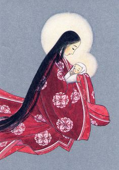 Blessed Mother Mary, Divine Mother, Blessed Virgin Mary, Japanese Prints, Japanese Art, Japanese Style, Religious Icons, Religious Art, Christianity In Japan