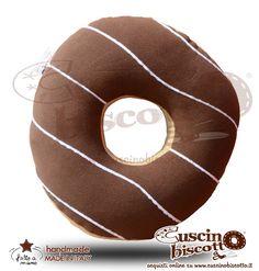 Cuscino Biscotto - Ciambella Glassata / Donuts Marrone2 (Fatto a mano in Italia)