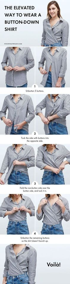 Always wear a basic button-down to work? Try this step-by-step style trick and completely elevate your usual look. Always wear a basic button-down to work? Try this step-by-step style trick and completely elevate your usual look. How To Wear Belts, How To Wear Shirt, Mode Outfits, Casual Outfits, Fashion Outfits, Fashion Trends, Fashion Hacks, Fashion Ideas, Basic Outfits