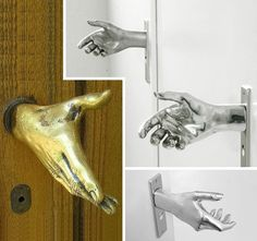 Handshake doorknobs- Awesome! Entrance to man cave! This is hilarious