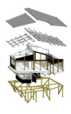 Casa en la punta del cerro,Axonométrica Perspectiva Extruida Bamboo House Design, Tiny House Design, House Cladding, Sunken Living Room, New House Plans, Roof Design, Cabin Homes, Little Houses, House In The Woods