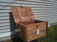 Barnwood siding Toy box or Ammo case. Black hardware with rope handles.