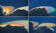 Stunned photographer Ken Rotberg captured these amazing pictures of a rare weather phenomenon known as a 'fire rainbow cloud', which appeared near Delray Beach, Florida