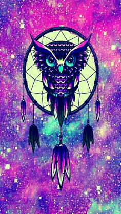 Dreamcatcher owl galaxy iPhone/Android wallpaper I created for the app CocoPPa!