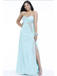 Elegant Column Sweetheart Beaded Floor Length / Long Plus Size Chiffon Prom / Evening / Formal / Party Dresses 2401072