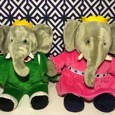 "Vintage Gund Plush Stuffed Animal Set King Babar and Queen Celeste 14""   eBay"