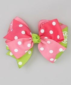 Look at this #zulilyfind! Pink & Green Polka Dot Bow by Bubbly Bows #zulilyfinds