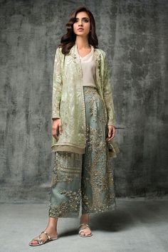 Nida Azwer - Digitally Embroidered Organza Shirt With Hand Embellished Organza Cropped Culottes