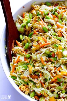 Asian Ramen Noodle Salad (a. Basically the Best Potluck Salad EVER), Crunchy Asian Ramen Noodle Salad (a. Basically the Best Potluck Salad EVER), Crunchy Asian Ramen Noodle Salad (a. Basically the Best Potluck Salad EVER), Healthy Salad Recipes, Vegetarian Recipes, Cooking Recipes, Simple Salad Recipes, Healthy Meals, Healthy Potluck, Cabbage Salad Recipes, Cooking Corn, Cooking Beets