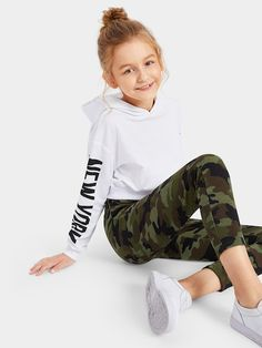 Little Girl Outfits, Kids Outfits Girls, Cute Girl Outfits, Cute Outfits For Kids, Cute Casual Outfits, Stylish Outfits, Cute Clothes For Kids, Camo Leggings, Girls In Leggings
