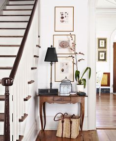 Entry Console by the Stairway - A Welcoming Entry