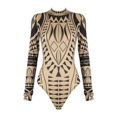 Tribal Printed Bodysuit- Beige ($45) ❤ liked on Polyvore featuring intimates, shapewear and tops