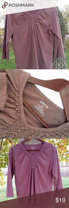 Orvis Women Lt Cocoa Shirt SIZE S Milk chocolatey nutmeggish brown lightweight shirt.   96% Polyester 4% Spandex  What I Like: Nice warm brown color. Orvis Tops