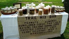 Trail Mix Bar: on wine barrels between ceremony and reception :))
