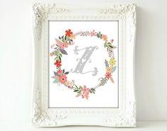 Large Letter Z Monogram, 8 x 10 or 16 x 20, Floral, Flower Lettering