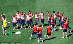 Talking tactics: Arsenal are on a US tour during their pre-season and face New York Red Bu...
