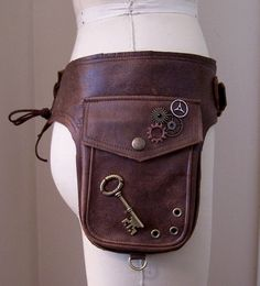 steampunk holsters bag | Darkwear Brown Unisex Steampunk Double Hip Bag Holster Utility Belt w ...
