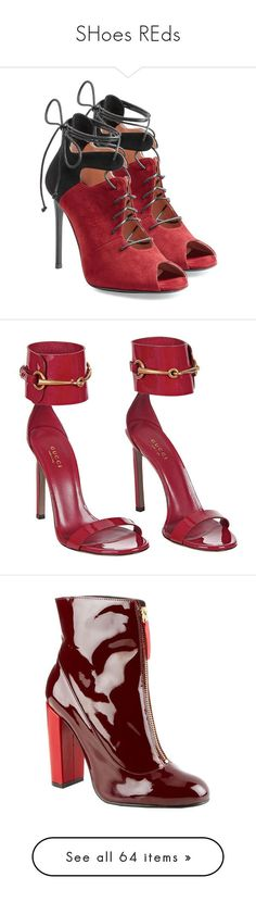 """SHoes REds"" by franca-marechal on Polyvore featuring shoes, sandals, red, red suede sandals, high heel stilettos, heels stilettos, laced sandals, lace up shoes, heels e boots"