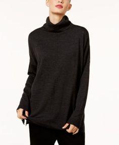 Eileen Fisher Merino Wool Turtleneck Sweater, Regular & Petite - Gray XXS