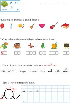 Le son a French Teaching Resources, Teaching French, Teaching Tools, French Language Lessons, French Lessons, Preschool Worksheets, Preschool Activities, Maternelle Grande Section, Learning French For Kids