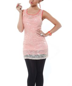 Take a look at this Lily Coral Embellished Sleeveless Tunic on zulily today!