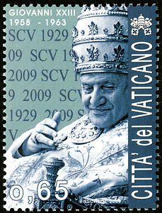 65c John XXIII single Vatican postage stamp - Pope John XXIII, now Saint John XXIII, served from 1958-1963