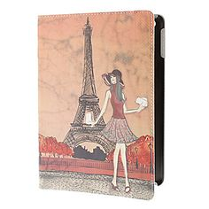 Chica de moda y Eiffel Tower Case Cuerpo PU completa con soporte para iPad Aire – EUR € 18.39