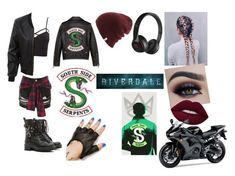"""""""SouthSide Serpent"""" by rebecca-peoples ❤ liked on Polyvore featuring Topshop, River Island, Charlotte Russe, LE3NO, RED Valentino, Five and Diamond, Beats by Dr. Dre, Yamaha, jughead and riverdale"""