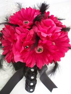 Items similar to Silk Bridal Flower and Realtouch Fuchsia Gerbera Daisey Wedding Bouquet Set on Etsy Homecoming Flowers, Prom Flowers, Fake Flowers, Bridal Flowers, Beautiful Flowers, Bridesmaid Bouquet, Wedding Bouquets, Diy Wedding, Wedding Things
