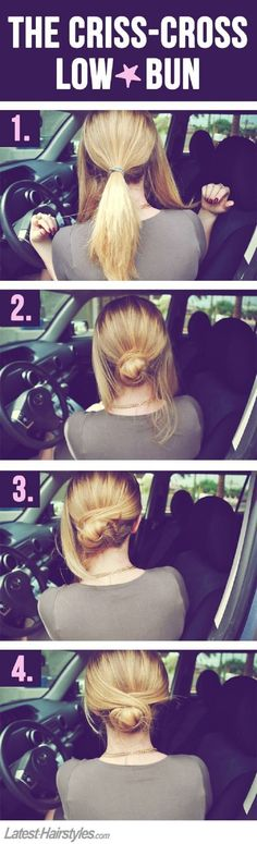 The Criss-Cross Low Bun - 16 Heatless DIY Hairstyles To Get You Through The Summer | GleamItUp
