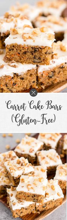 Carrot Cake Bars (Gluten-Free) These carrot cake bars are delicious, perfectly moist and soft – easy dessert for any holiday. Simply the best gluten-free carrot cake treat. Easy Holiday Desserts, Thanksgiving Desserts, Easy Desserts, Delicious Desserts, Southern Desserts, Yummy Food, Cake Central, Gluten Free Carrot Cake, Gluten Free Desserts