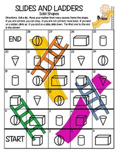 Free math game - Slides and Ladders for plane and 3D shapes