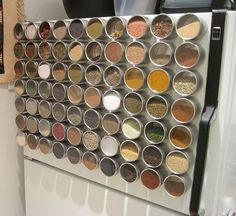 Use magnetic spice containers for your fridge to save space.