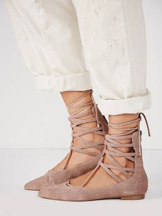 Jeffrey Campbell Shay Lace Up Flats in taupe suede