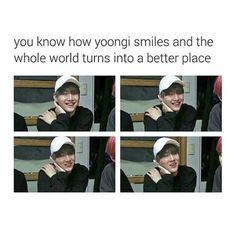 YASSSSS! Min Yoongis smile is ARMYS smile! When he smiles you know its genuine because its rare and precious! ❤ #BTS #방탄소년단