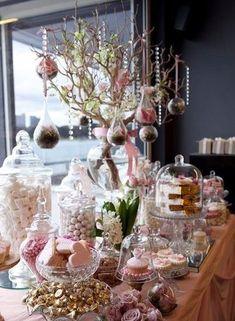 Love Is Sweet: 55 Wedding Candy Bar Ideas Lolly Buffet, Dessert Buffet, Dessert Bars, Pink Dessert Tables, Candy Buffet Tables, Candybar Wedding, Wedding Desserts, Wedding Decorations, Wedding Candy Table