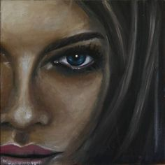 eye, a Oil on Canvas by Maria Folger from United States. It portrays: Portrait, relevant to: woman, brown, blue eye, eye, face woman face