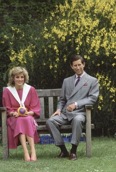 The royal couple relaxes in the Kensington Palace gardens on June 12, 1984.Body language is loud and clear.