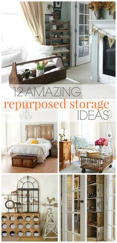 Old Dresser becomes Kitchen Island.  Links to 12 Repurposed Storage Ideas for your home