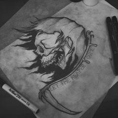 """""""Pray for Death"""" Available for tattoo! #brisbanetattooartist #brisbanetattoo #tattoo #tattoos #blackwork #blackworkflash #blackworkdesign #blackworktattoo #skull #skullart #skulltattoo #neotrad #neotraditional #neotraditionalflash #neotraditionalskull #flash #flashdesign #flashtattoo #horror #horrorart #horrortattoo"""