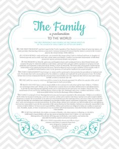 MODERN, Family Proclamation to the World, 8 Different Colors