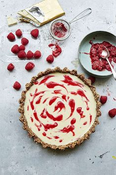 White Chocolate, Cardamom and Raspberry Tart with a Pecan and Hazelnut Base Recipe Chocolate And Raspberry Tart, Raspberry Desserts, Raspberry Tarts, Chocolate Hazelnut, Chocolate Recipes, Dessert Cake Recipes, Party Desserts, Pie Recipes, Baking Recipes