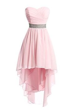 Women High Low Lace Up Back Sexy Strapless Chiffon Dress - Yellow, High Low Chiffon Dress, Pink Chiffon Dress, High Low Prom Dresses, Cute Prom Dresses, Grad Dresses, Long Bridesmaid Dresses, Pretty Dresses, Homecoming Dresses, Short Dresses