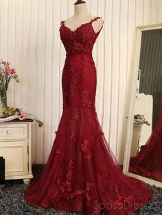 Red lace mermaid v-neck cheap long prom dresses, prom evening prom dres . - Prom Dresses - Lace Mermaid V Neck Cheap Long Evening Prom Dresses, Prom Evening Prom D . Cheap Evening Dresses, Cheap Prom Dresses, Elegant Dresses, Pretty Dresses, Formal Dresses, Short Dresses, Grad Dresses, Prom Party Dresses, Homecoming Dresses